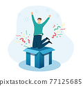 celebration for successful flat character. vector illustration 77125685