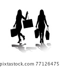 Silhouette of standing woman with bags. Shopping concept. Vector illustration. 77126475