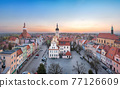 Wolow, Poland. Aerial view of Town Hall and Market square 77126609