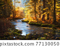 Sunrise at river in autumn yellow forest. Beautiful reflection in water 77130050