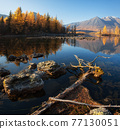 Sunrise at lake in mountain range. Beautiful reflection in water 77130051