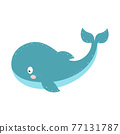 vector illustration with cartoon whale isolated on white 77131787