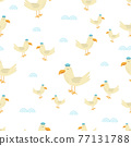 seamless pattern with cute seagull, vector illustration 77131788