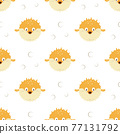 seamless pattern with cartoon blowfishes, vector illustration 77131792