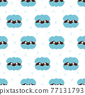 seamless pattern of cartoon shell with pearl 77131793