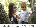 young pretty brunette mother with little cute boy walking in park happy smiling, lifestyle people concept 77132290