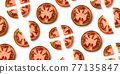 Fresh tomato pattern isolated on white, from above 77135847