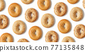 Fresh bagel pattern isolated on white, from above 77135848