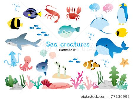 Sea creatures set 77136992
