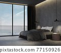Minimal loft style bedroom with sea view background 3d render 77150926