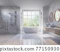 Luxury style light gray bathroom 3d render 77150930