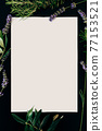 Vertical white sheet of paper on a black background. Flowers and twigs are spread around 77153521