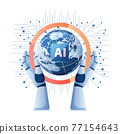 Robot Hand Holding World with Artificial Intelligence Ai Chip on Electronic Circuit Board 77154643