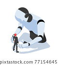 Isometric Businessman Facing with Against Ai Robot 77154645
