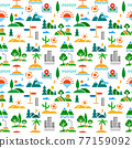 landscapes seamless clolor pattern 77159092