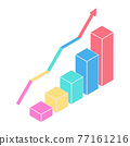 Cartoon vector illustration isolated object 3D graphic chart bar and growing arrow line 77161216