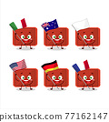 Red plastic tray cartoon character bring the flags of various countries 77162147