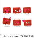 Red plastic tray cartoon character with love cute emoticon 77162156