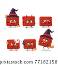 Halloween expression emoticons with cartoon character of red plastic tray 77162158