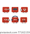 Red plastic tray cartoon character are playing games with various cute emoticons 77162159
