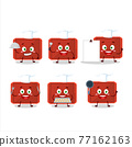 Cartoon character of red plastic tray with various chef emoticons 77162163