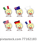 Mashed potatoes cartoon character bring the flags of various countries 77162183