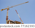 jerusalem, israel. 11-01-2021. A crane in the middle of the construction of a residential building on Jaffa Street 77162393