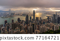 Hong Kong city skyline from Victoria peak, China with dramatic sky. 77164721
