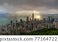 Hong Kong city skyline from Victoria peak, China with dramatic sky. 77164722