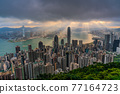 Hong Kong city skyline from Victoria peak, China with dramatic sky. 77164723