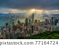Hong Kong city skyline from Victoria peak, China with dramatic sky. 77164724