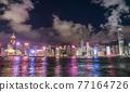 Hong Kong downtown skyline across Victoria harbor at night, Hong Kong, China. 77164726