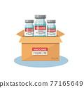 box of coronavirus vaccine. Vaccination and anti virus concept. Vector illustration 77165649