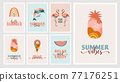 Bohemian Summer, modern summer illustrations and cards design with rainbow, flamingo, pineapple, ice 77176251