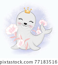 Cute baby seal and flowers cartoon animal watercolor illustration 77183516