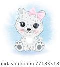 Cute snow leopard cartoon arctic animal watercolor illustration 77183518