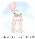 Cute seal and balloon cartoon animal watercolor illustration 77183520