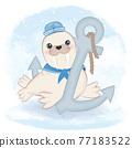 Cute walrus sailor and anchor arctic animal watercolor illustration 77183522