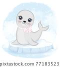 Cute baby seal on ice floe cartoon animal watercolor illustration 77183523
