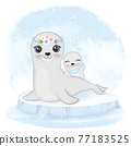 Cute baby seal and mom on ice floe animal watercolor illustration 77183525