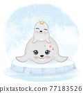 Cute baby seal and mom on ice floe animal watercolor illustration 77183526