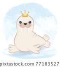 Cute walrus cartoon arctic animal watercolor illustration 77183527