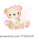 Cute little bear with bunny and baby toy  77183529