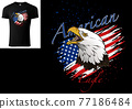 T-shirt Design with Bald Eagle and US Flag 77186484