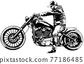 Motorcyclist on Motorcycle Drawing 77186485