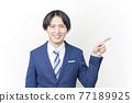 Businessman's finger pointing 77189925
