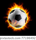 Soccer ball with fire 77196492
