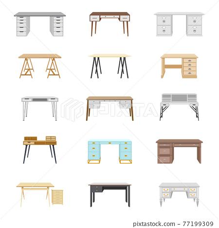 Set of fifteen office desks. Vector illustration 77199309