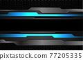 Abstract blue neon grey metallic cyber black line banner on dark hexagon mesh pattern design modern futuristic technology background vector illustration. 77205335
