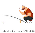 Fisherman fishing with fishing rod. Fishing people with fish and equipment. Vacation concept flat vector icon. Leisure and hobby catching fish 77206434